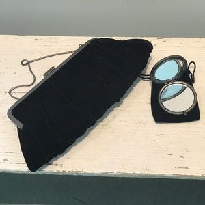 Black Velvet Clutch & Compact Mirror